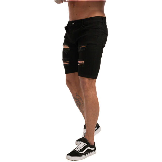 Mens Cotton Denim Shorts Fit Distressed Ripped Half Jeans Pants Short Summer