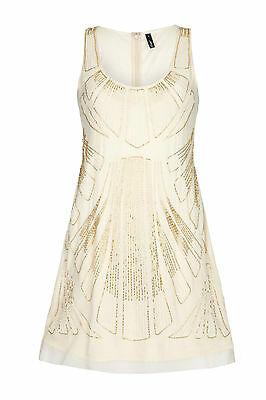 Beige Vintage 1920s Flapper Gatsby Downton Abbey Fringe Beaded Dress Size 8-20