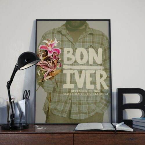 Picture A3 A4 Size Print Bon Iver Flowers Gig Concert  Poster