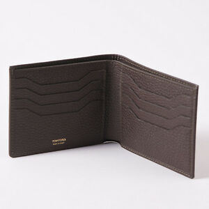 NWT-TOM-FORD-Chocolate-Brown-Grained-Leather-Bi-Fold-Classic-Wallet