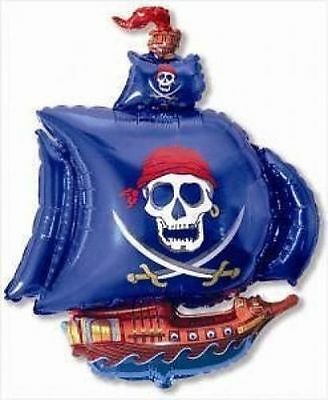 "Pirate Party Large Blue 26"" Pirate Ship Foil Balloon"