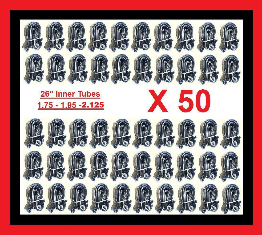 50 Qty 26  Bicycle Bike Cycle tube 26  x 1.75 - 2.125 Inner Tubes New Lot