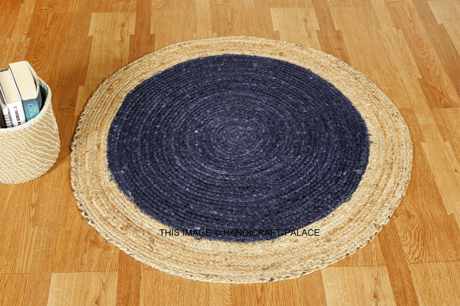Jute Circle Pattern Round Rug Large