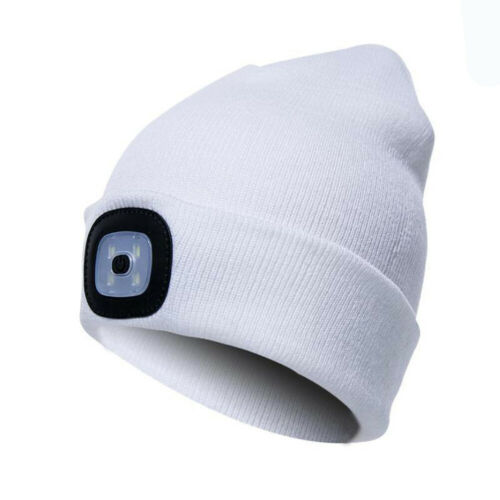 Mens Women LED Beanie Hat Winter Warm Head Lamp Light Outdoor Camping Knitted