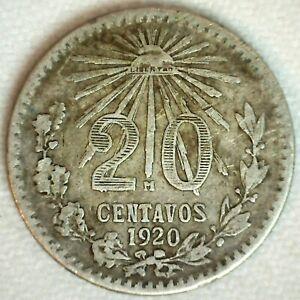 1920 Mexico Silver 20 Centavos Coin Very Fine Circulated ESTADOS UNIDOS MEXICANO