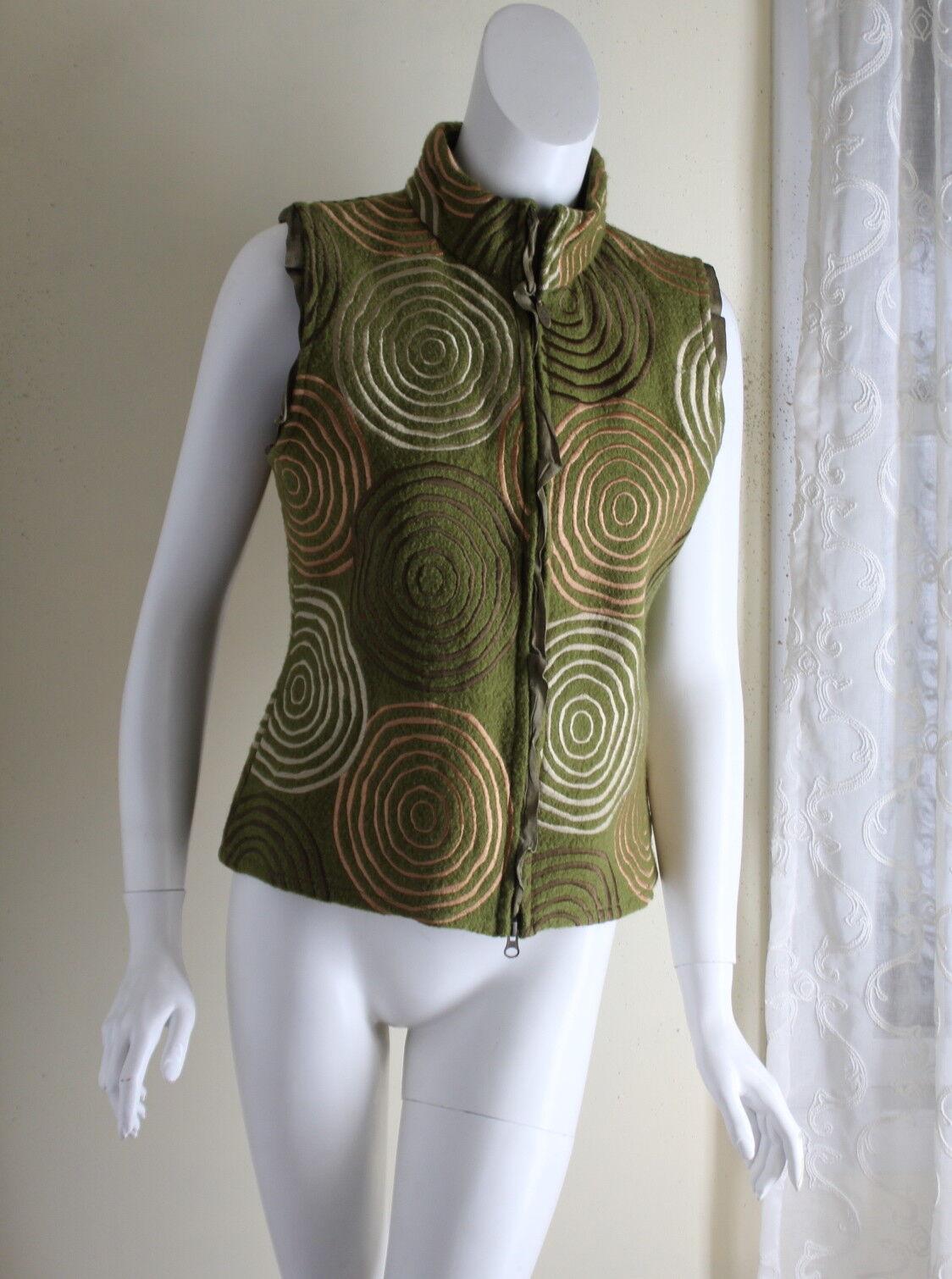 Covelo-Talla M arte excepcional verde de lana hervida  Chaqueta Chaleco Concéntrico Funky Mod  Envío 100% gratuito