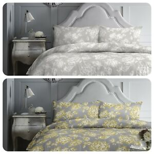 Dreams-amp-Drapes-Mishka-Floral-Duvet-Cover-Set-Grey-Ochre-Bedding-Quilt-Easy-Care