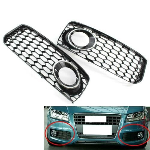 HOLLOW LEFT RIGHT FOG LIGHT GRILLE W//CHROME FOR AUDI A5 S5 RS5 S LINE 08-12 09