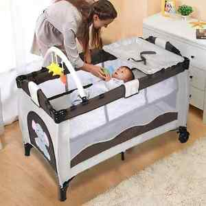 Portable Baby Crib Bassinet Playpen Travel Folding Bed Organizer Convertible