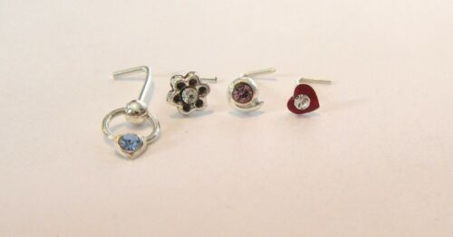 4 Sterling Silver Nose L Shape Bent Thin Pins Studs Jewelry 22 gauge 22g