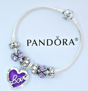 Image Is Loading Authentic Pandora Charm Bracelet Heart Love Purple European