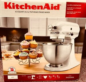 Details about New in box,KitchenAid K45SSWH Classic 275-Watt 4.5 Quart  Stand Mixer,White. READ