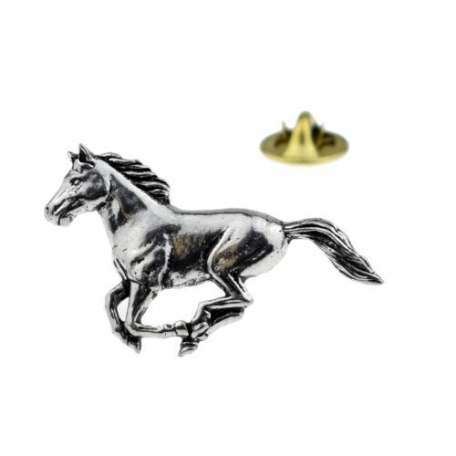 Running Horse English Pewter Lapel Pin Badge XTSPBA19