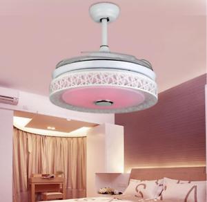 42 Quot Retractable Ceiling Fans Bluetooth Led Chandelier