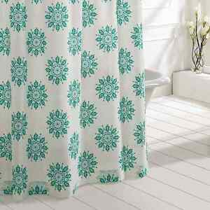 MARIPOSA-Turquoise-Shower-Curtain-Creme-green-Medallion-Cotton-Cottage-Chic