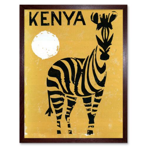 Anuncio de viaje de África Kenia Zebra Sun Pared Arte Impresión Enmarcado 12x16