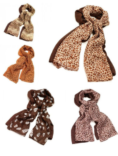 TWO PIECE ANIMAL LEOPARD SNAKE PATTERN OR SKULL /& PLAIN SCARF SET