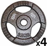 Set 4 X 2.5kg Fxr Sports 1 Tri Grip Cast Iron Olympic Weight Disc Plates Gym