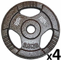 Set 4 X 2.5kg Fxr Sports 1 Tri Grip Cast Iron Olympic Weight Disc Plates Gym