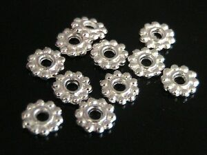 25-x-7mm-Silver-Plated-Daisy-Spacer-Beads-Jewellery-Craft-FREE-UK-P-P-J26