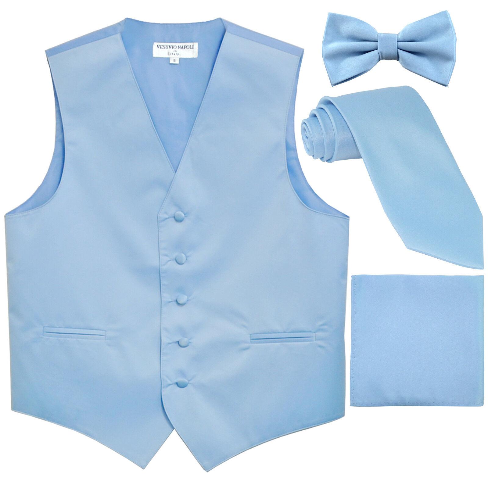 New Men's tuxedo Vest Waistcoat_Necktie, Bowtie & Hankie Set Light Blue formal