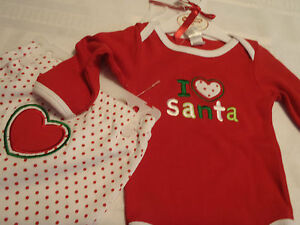 BABY GEAR 3 6 or 6 9 Month Footed polka Dot Pant Christmas Santa Bodysuit NWT