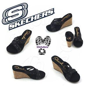 f58f66cc846d New Auth Women s Skechers Cali Modiste Bound Wedge Sandals Black W6 ...