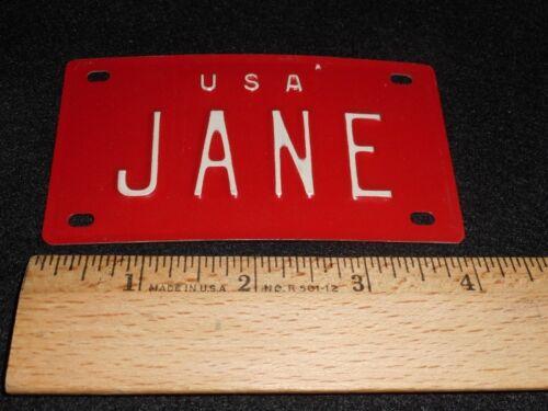 "VTG 1960/'s USA MINI BIKE LICENSE VANITY PLATE METAL EMBOSSED NOS NAME /""JANE/"""