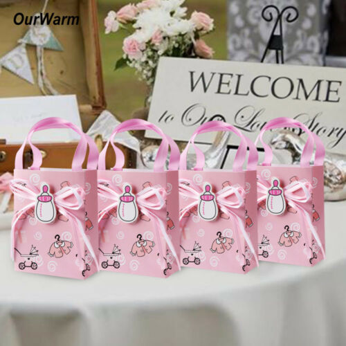12×Baby Shower Baptism Christening Candy Boxes Sweet Gifts Bag Birthday Favors