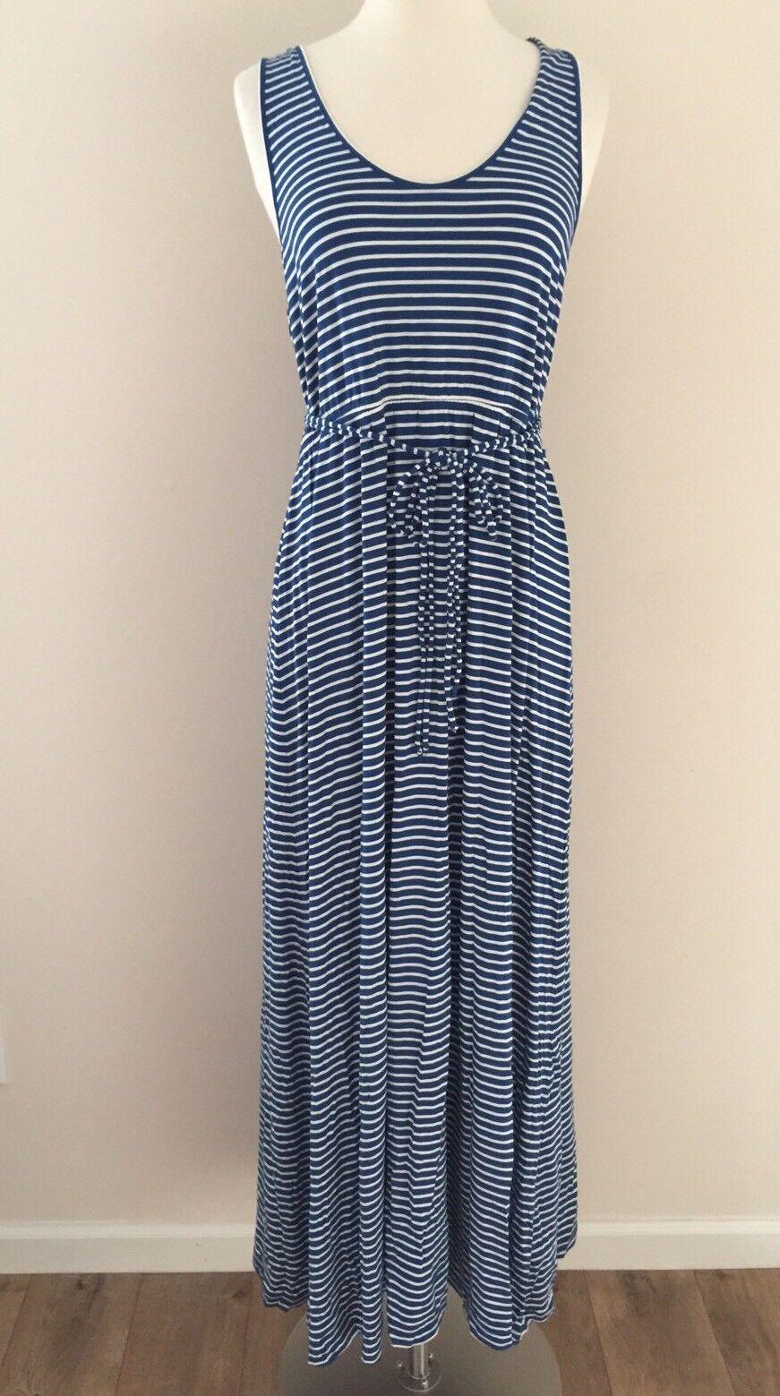 J CREW STRIPED MAXI DRESS WITH TIE WAIST bluee NWT M ITEM F0900