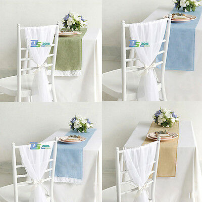 Wedding Lace Soft Cotton Linen Party Banquet Table Runner Hessian Decoration