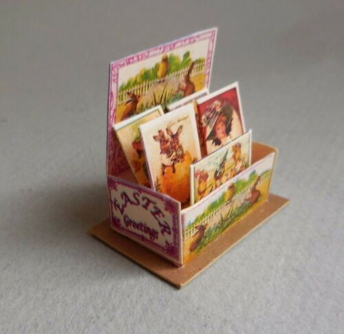 DOLLHOUSE MINIATURE ~  EASTER CARD DISPLAY ~ COUNTER DISPLAY