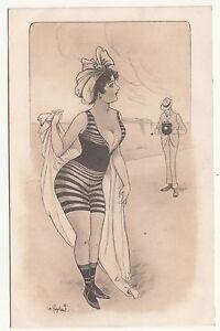 Signierte Künstler Ak erotische Dame läßt sich