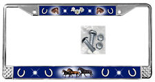 Horses Dark Blue Backdrop License Plate Frame Gifts Polished Metal & Screws TXT