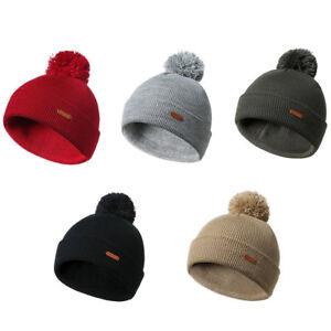 a14b7dbc421 Women Men Winter Warm Chunky Knit Wool with Fur Pom Pom Beanie Hat ...