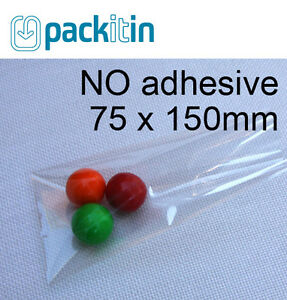 75-x-150mm-100-qty-NON-seal-NO-adhesive-Clear-Cellophane-Cello-Plastic-Bags