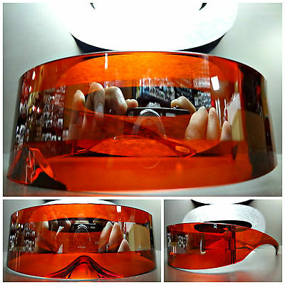ALIEN ROBOT COSTUME PARTY CLUB RAVE CYCLOPS FUTURISTIC SHIELD SUN GLASSES Red