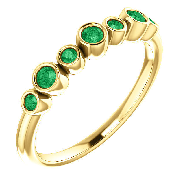 Chatham® Created Emerald Bezel Set Ring In 14K Yellow gold