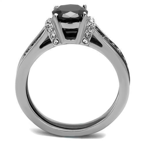 2971 Anillos de compromiso de boda con diamantes simulados Protector De Acero Inoxidable 2PCS