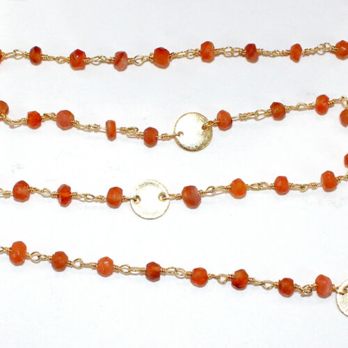 3 Feet CARNELIAN 3MM Bead DISC COIN Rosary Chain 24K Gold Plated DIY Gemstone