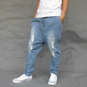 Hombres Entrepierna Caida Pantalones De Tela Vaquera Envejecida Pantalones Sueltos Haren Jeans Casual Moda Ebay