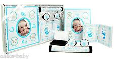 5pc Newborn Baby Boy Gift First Photo Frame Handprint Footprint Kit Blue White