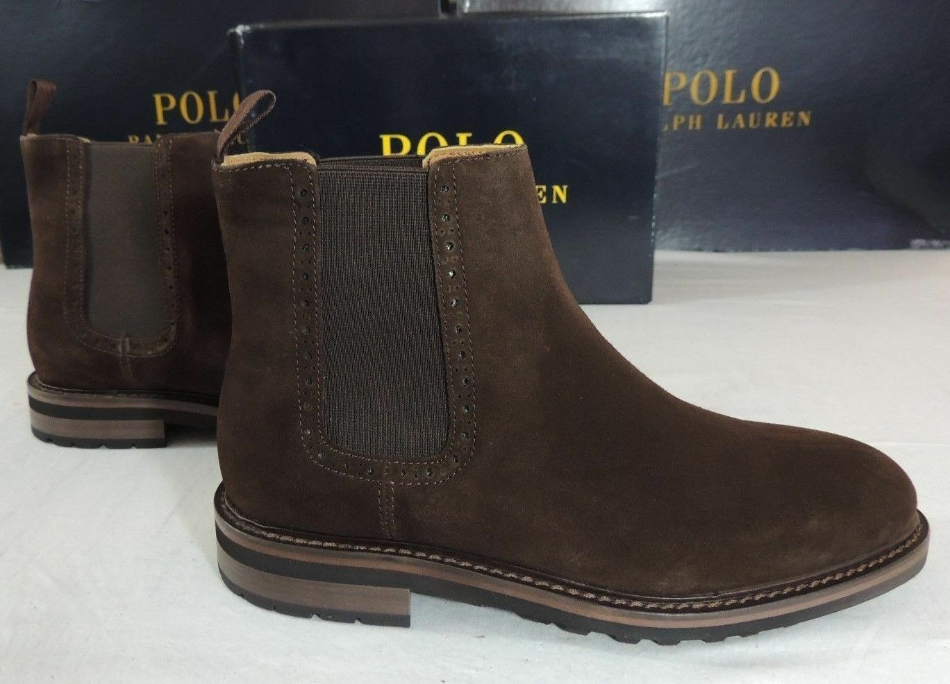 395 Polo Ralph Lauren Adley Dark Brown Suede Leather Pull Up Boots shoes 7 D 6