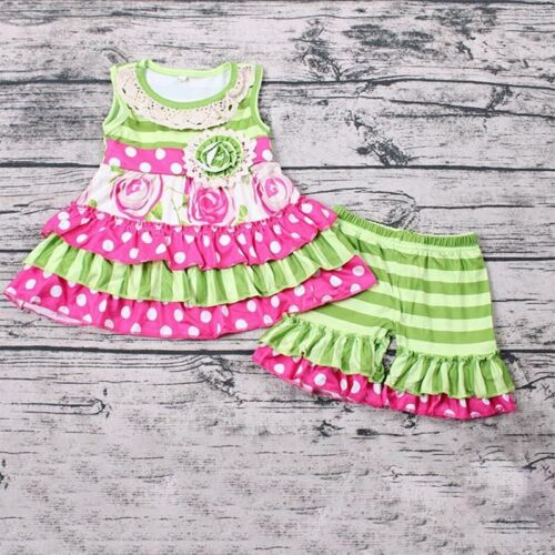 NEW Boutique Girls Floral Ruffle Tunic /& Shorts Outfit Set