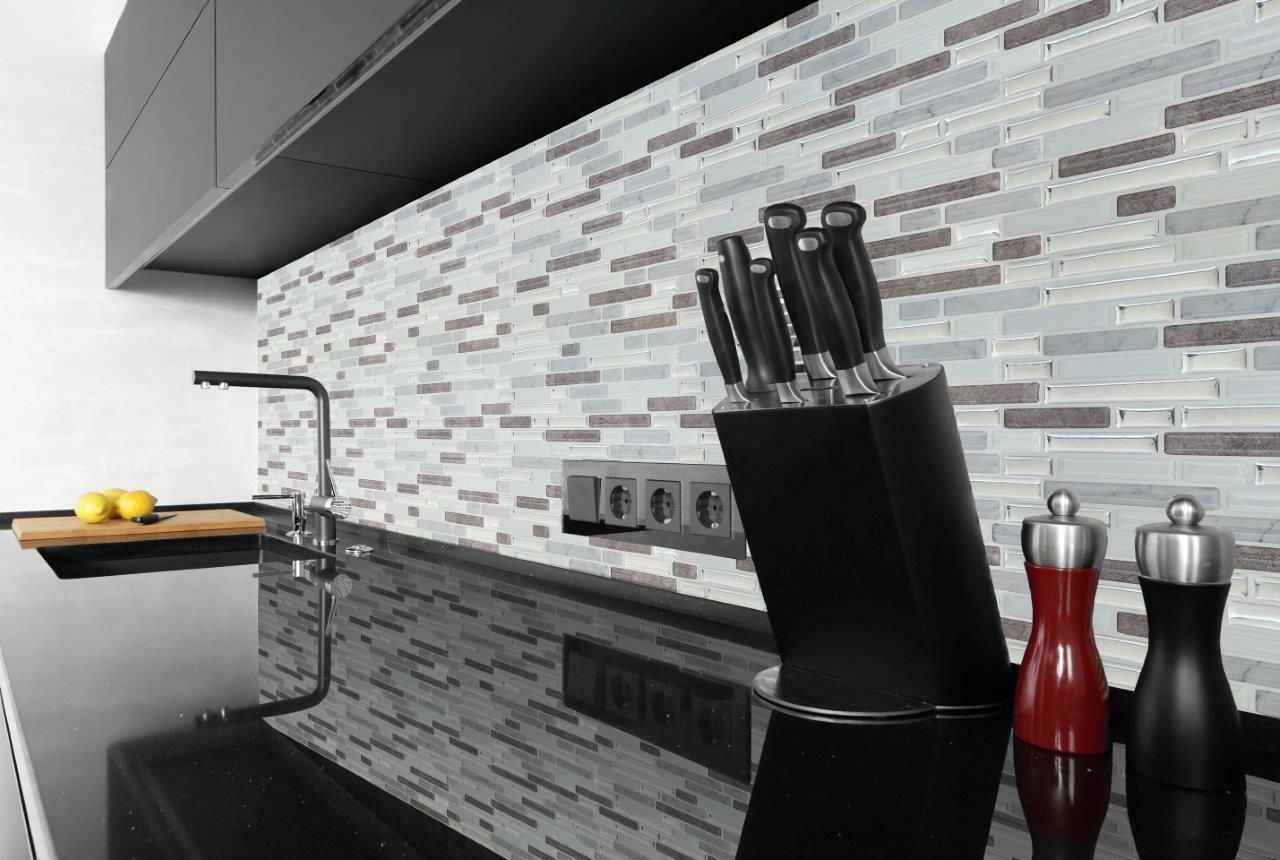 MARMO E argentoO 3D Gel Effetto Mosaico Mosaico Mosaico Autoadesivi Piastrelle 245 x 235mm 54b33c