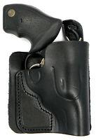 Black Leather Concealment Back Pocket Wallet Holster - S&w Model 637 638 642 442