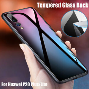 091b0ac901c Tempered Glass Back Case for Huawei P20 Plus Lite TPU Bumper Hybrid ...