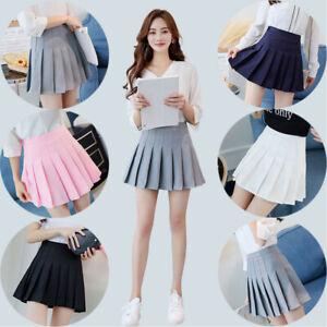 Details about Women Girls Elastic Hight Waist Skater Skirt Pleated Flared A Line Mini Dress
