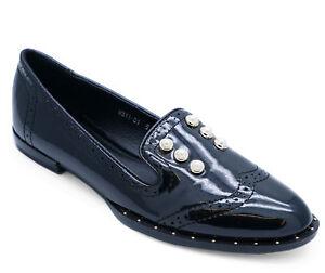 Womens Slip-on Black Flat Pearl Smart Work Loafers Casual Comfy Shoes Sizes 3-8-afficher Le Titre D'origine