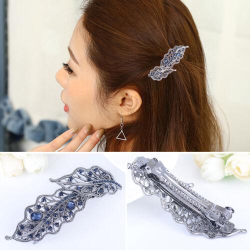 QA/_ DR7 Fashion Hollow Leaf Alloy Rhinestone Hairpin Hair Clip Women Headwear